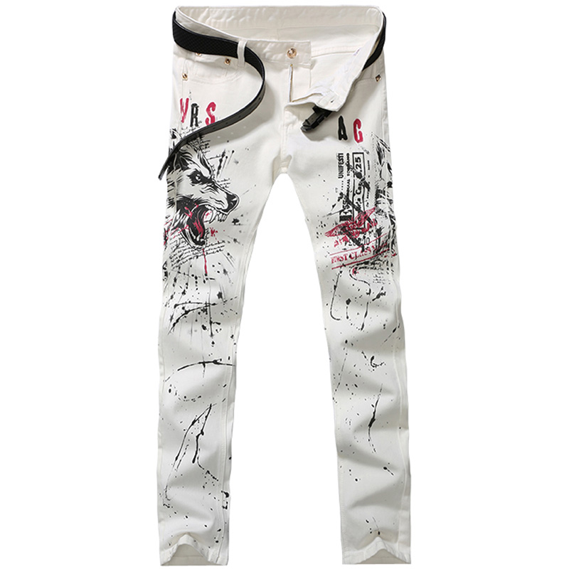 2017 new fashion straight leg jeans long men male printed denim pants cool cotton designer good