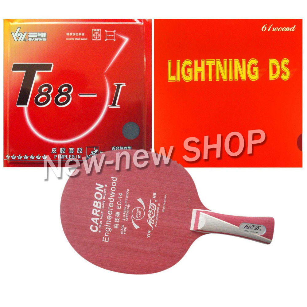 Pro Table Tennis Ping Pong Combo Paddle Racket  Yinhe EC-14 + Sanwei T88-I and 61second Lightning DS Shakehand long handle FL yinhe earth 4 e4 e 4 e 4 shakehand table tennis ping pong blade