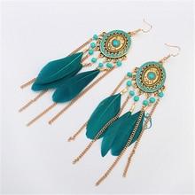 Long Tassel Fashion Feather Style Ethnic Boho  Earring