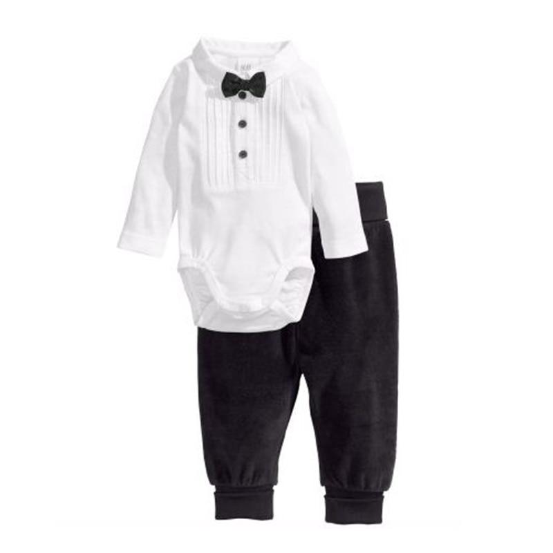 Cute Gentlemen Baby Boy Clothes White Long Sleeve Bodysuit + Black Pants 2PCS Boys Suit Set Vetement Bebe Garcon Infant Clothing 2pcs set baby clothes set boy