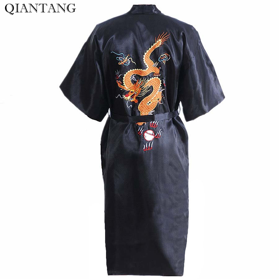 Hot Sale Black Chinese Mens Satin Embroidery Robe Kimono Bath Gown Spring and Autumn with Pocket Size S M L XL XXL S0103-A