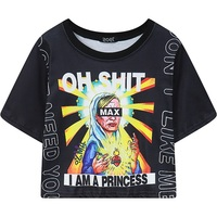 Women Crop Top Tees 2016 New Gothic Punk Princess Print Cropped Tee Tops Woman HARAJUKU Goth