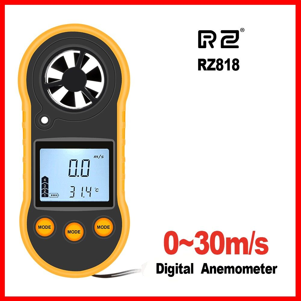 RZ818 GM816 Portable Anemometer Anemometro Thermometer  Wind Speed Gauge Meter Windmeter 30m/s LCD Digital Hand-held  Measure