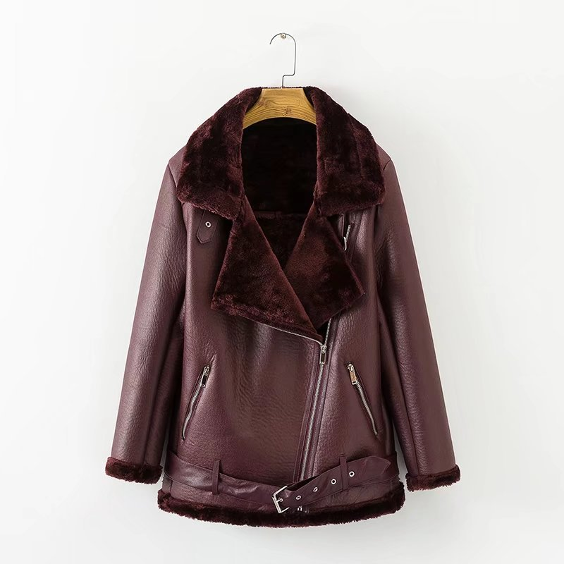 Ly Varey Lin Winter Women Faux Lamb Leather Jacket European American Women Punk Lapel Thickened Padded Warm Zipper Fur Outwear