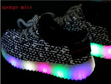 2017 Sponge Mice Children Shoes With Light Led  Sneaker Girls Tenis Sports Breathable Boys Light Baby Shoes