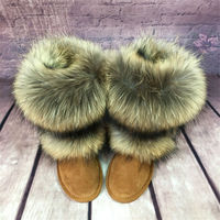 grwg New Arrival Fox Fur Woman Winter Snow Boots Women's Shoes Geniune Leather Natural Women's Snow Boots