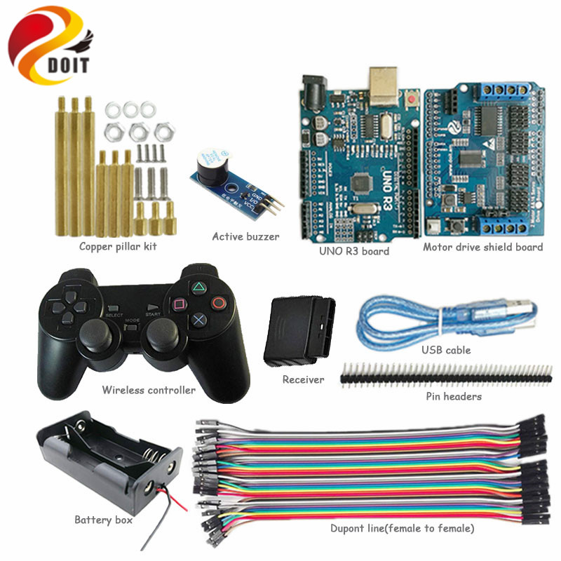DOIT Wireless Controller kit for Smart Robot Tank Car Chassis with UNO R3 Board, Active Buzzer Arduino Starter Kit 2 wheel drive robot chassis kit 1 deck