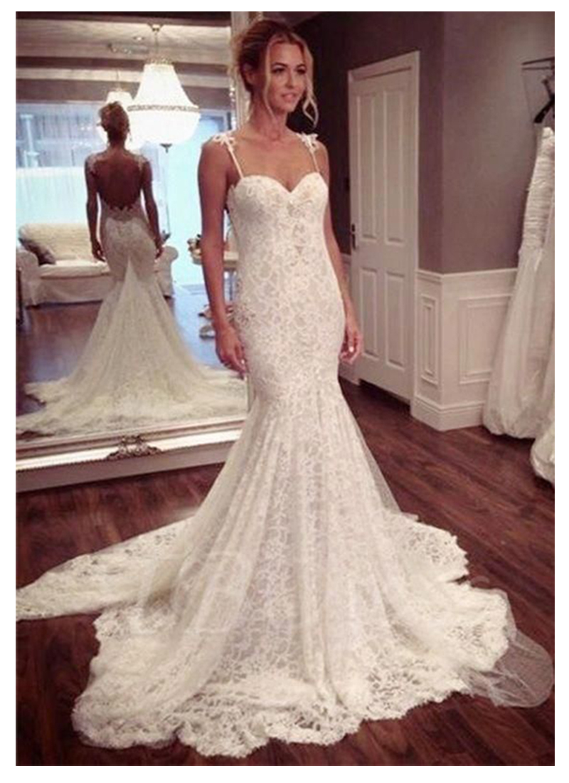 LORIE Mermaid Wedding Dress Sleeveless 2019 Vestidos De Novia Vintage Lace Sweetheart Neck Bridal Gown Backless Wedding Gowns
