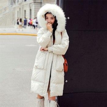 2019 New Winter Long Down Jacket Women Big Fur Collar Hooded White Duck Down Long Parkas Coat Female Slim Snow Outerwear YH356