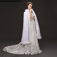 1 Meter White Satin Wedding Cape Long Bridal Winter Shawl 1M Wedding Wraps Hodded Faux Fur Bridal Cape with Hat