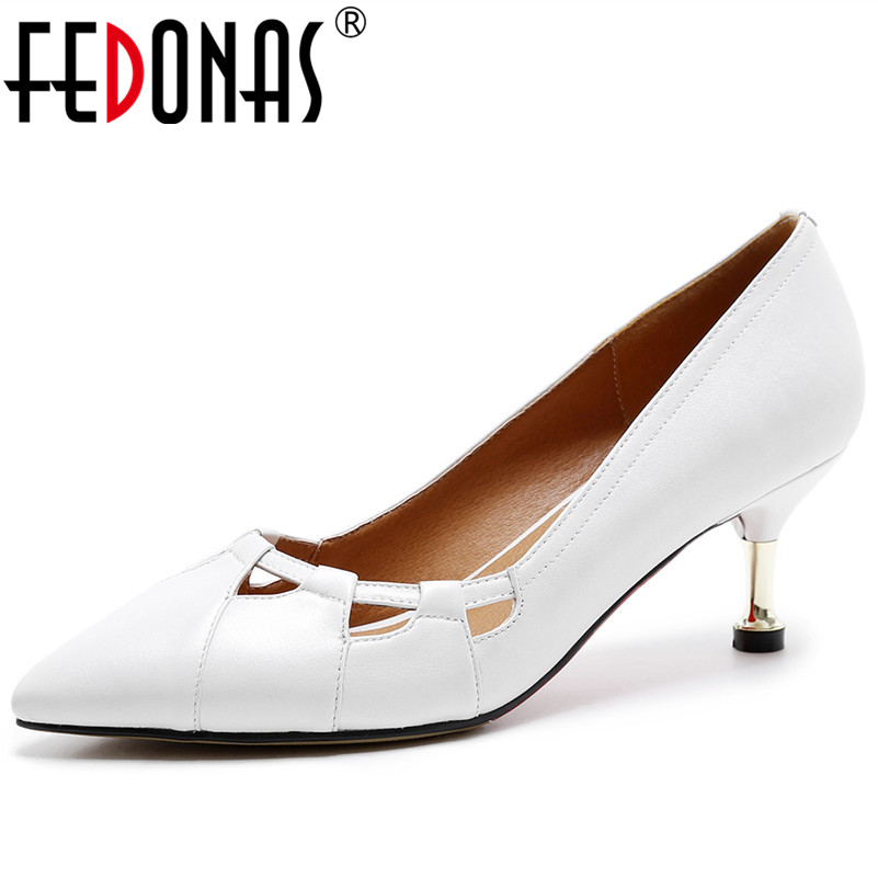 FEDONAS New Women Genuine Leather Shoes Sexy Pointed Toe Concise High Heeled Prom Pumps Ladies Elegant Office Pumps Shoes Woman fedonas sexy pointed toe women genuine leather pumps close toe summer shoes mules high heeled sandals sexy women slippers