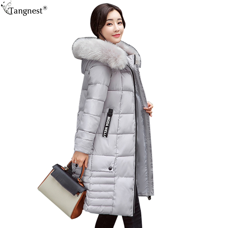TANGNEST 2017 Casual Winter Jacket Coats Women Plus Size 3xl Winter Coat Thick Fur X-Long Cotton Parkas Casaco Feminino WWM1618 цены онлайн