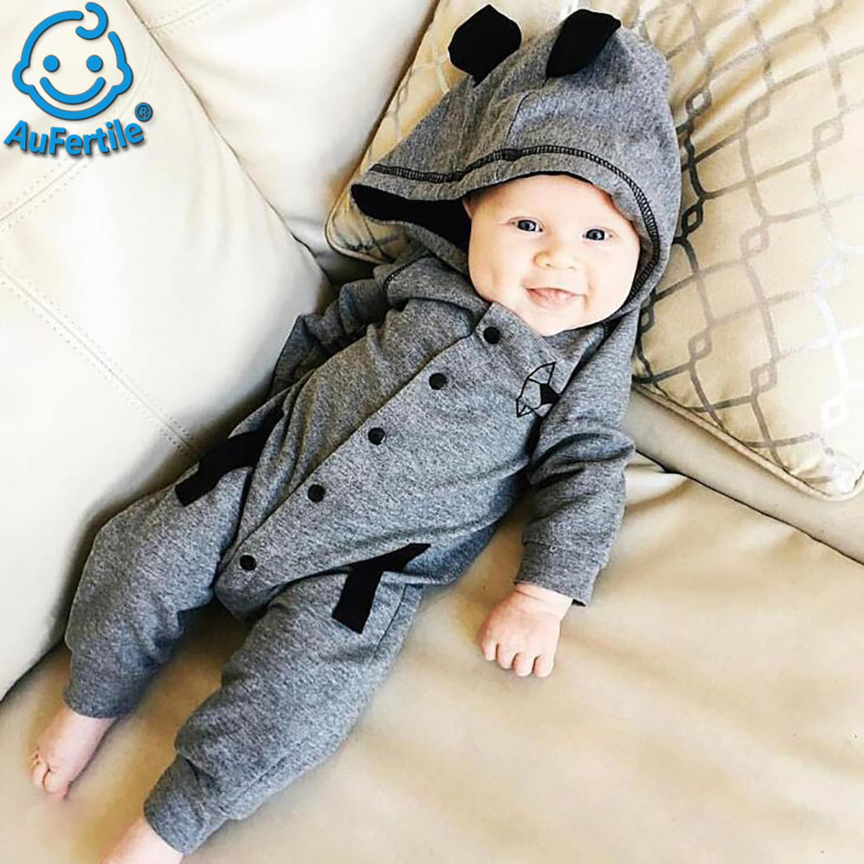 Fox Tail Cotton Gray Rompers with Hat Stylish Exquisite Cartoon Cute Trendy High-Quality Comfortable Home Childrens Overalls