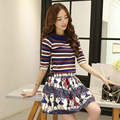 In the spring of 2016 new fashionable striped T-shirt thin sweater A word skirt two piece