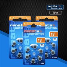 Renata 6 pces/1 bloco maratone mais tamanho a13 13a za13 13 pr48 zinco ar 1.45v aparelho auditivo bateria
