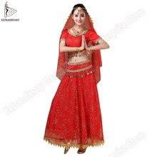 2be7832245 Bollywood Belly Dance Costume Set Indian Dance Sari Bellydance Skirt Suit  Women Chiffon 5pcs (Headpieces Veil Top Belt Skirt)