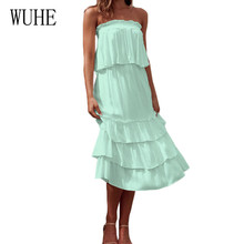 WUHE New Arrival Two Piece Sets Strapless Cake Dress Women Sleeveless Elegant Linen Summer Casual High Street Vestidos
