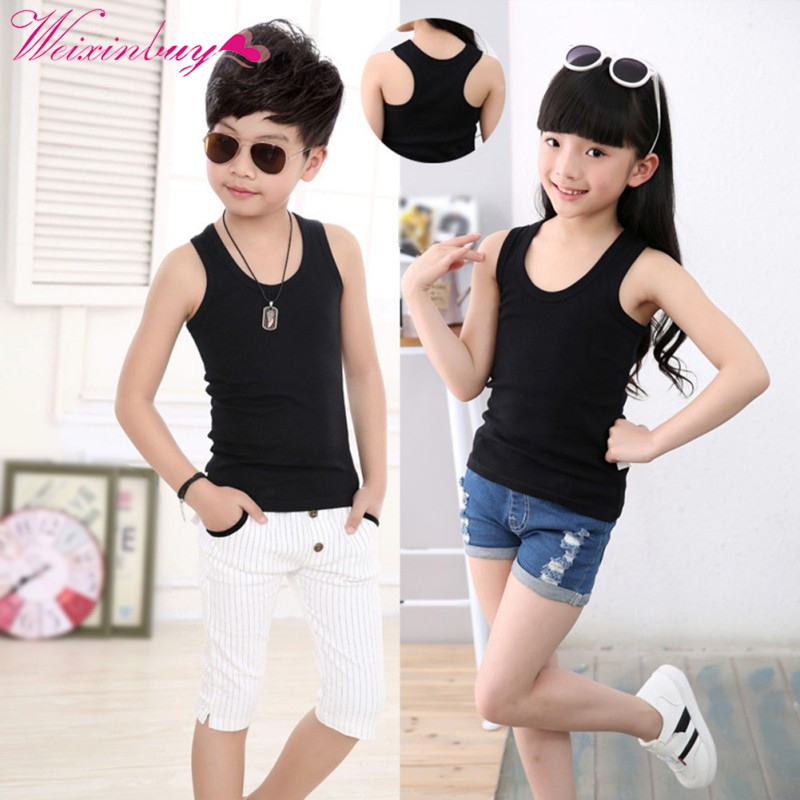 Camisoles Baby Tanks Children's Clothing Boys Girls Tops Summer Tanks Sleeveless Tank Strap 2018 Cotton Toddler