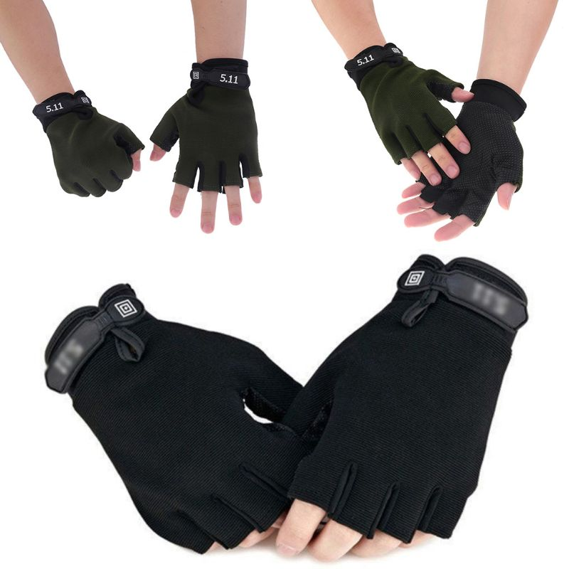 Men Camouflage Tactical Gloves Outdoor Sport Cycling Half Finger Anti-Slip Shock-Absorbing Fitness Fingerless Mittens Warmer