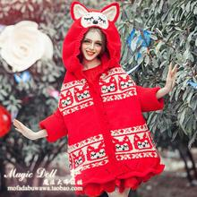 Pull Top Direct Selling Cardigan 2016 New Handmade Sweater Winter Magic Dolls Stylish Long Cute Ears Loose Witch Bats With Hood