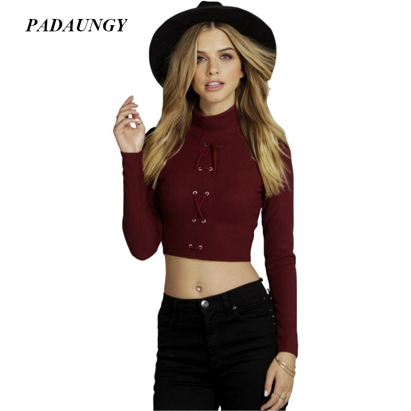 padaungy bandage women t shirt turtleneck crop tops long sleeve tee shirt femme white autumn. Black Bedroom Furniture Sets. Home Design Ideas