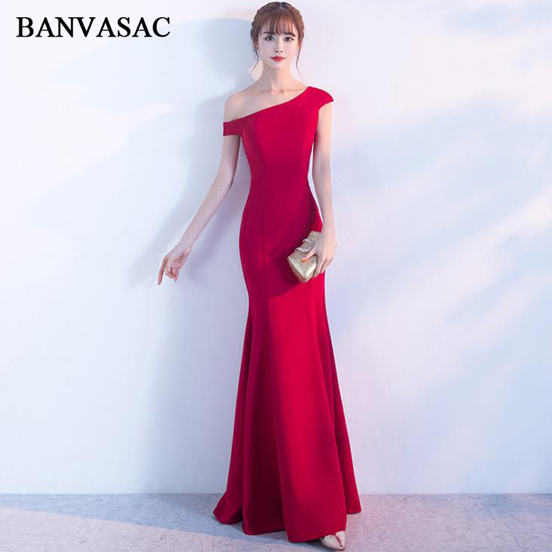 BANVASAC 2018 One Shoulder Satin Zipper Back Mermaid Long   Evening     Dresses   Party Short Sleeve Backless Prom Gowns