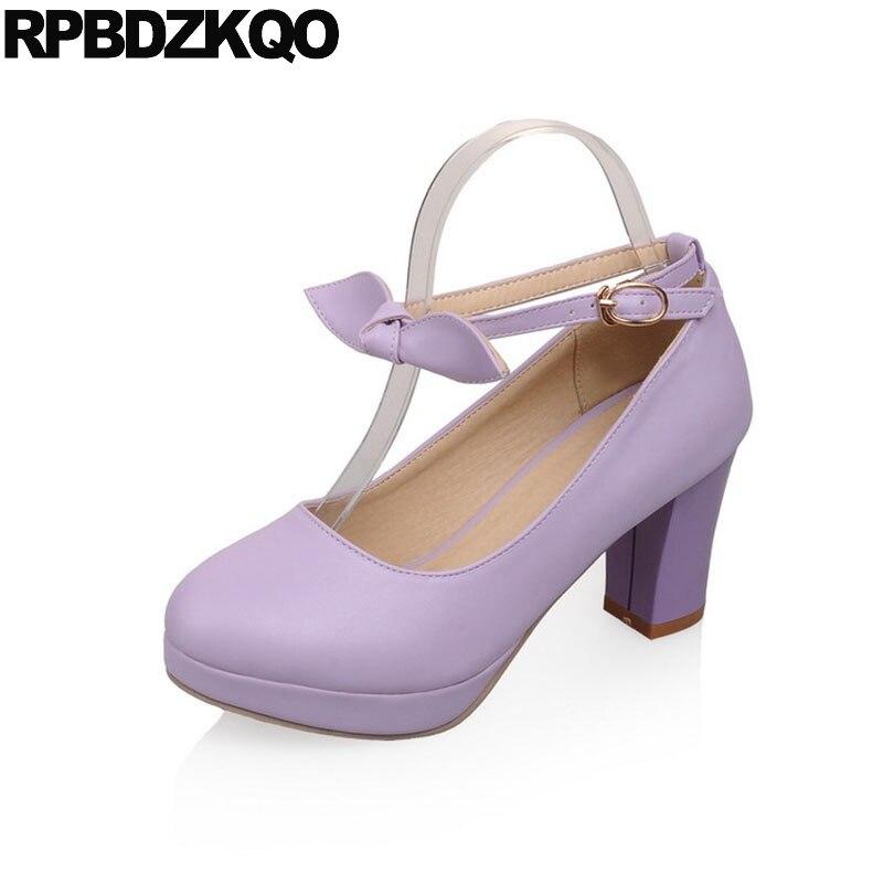 15906e34d71b33 10 42 2018 Big Size Japanese Round Toe Platform Lolita Shoe Bow Ankle Strap  Ladies 33 11 43 High Heels 3 Inch Purple Block Pumps