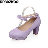 10 42 2018 Big Size Japanese Round Toe Platform Lolita Shoe Bow Ankle Strap Ladies 33 11 43 High Heels 3 Inch Purple Block Pumps