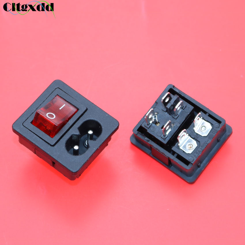 Cltgxdd AC 2.5A 250V IEC 320 C8  Power Cord Inlet Socket Receptacle With ON-OFF Red Light Rocker Switch For Computer Amplifier