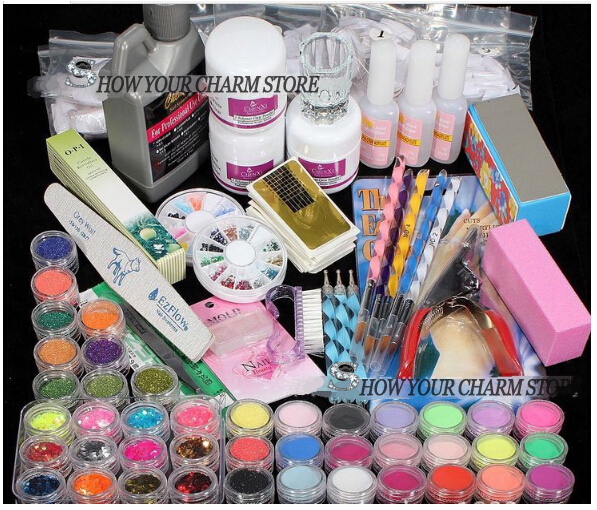 Wholesale Professional 42 Acrylic Liquid Powder Glitter Clipper Primer File Nail Art Tips Tool Brush Tool Set Kit 48 bottles lot 5 designs mixed diy nail art decoration kit rhinestones beads sequins paillettes nail glitter powder acrylic tips