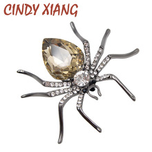 CINDY XIANG 3 Colors Choose Crystal Spider Brooches for Women Fashion Gun-black Plated Insect Brooch Pin Exquisite Jewelry Gift