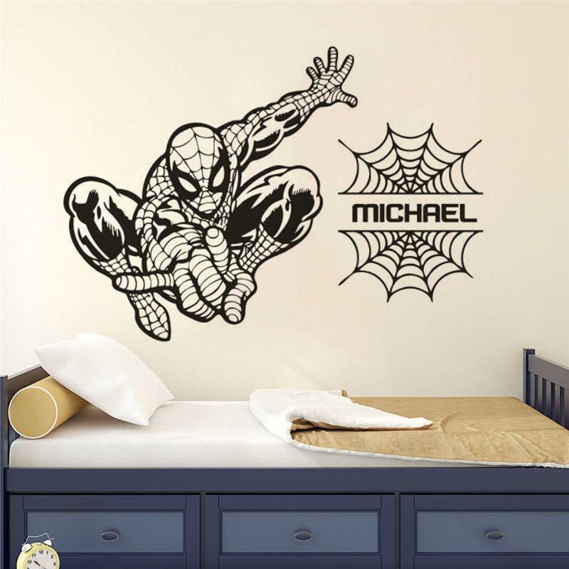 Виниловая наклейка на стену с изображением Человека-паука на заказ для мальчиков, наклейка на стену с изображением супергероя, декор для детской комнаты, обои с изображением Человека-паука AZ274