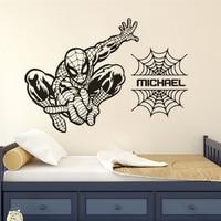 Spiderman Vinyl Wall Decal Custom Boys Name Wall Sticker Superhero Pattern Kids Room Decor Spiderman Net Wallpaper AZ274