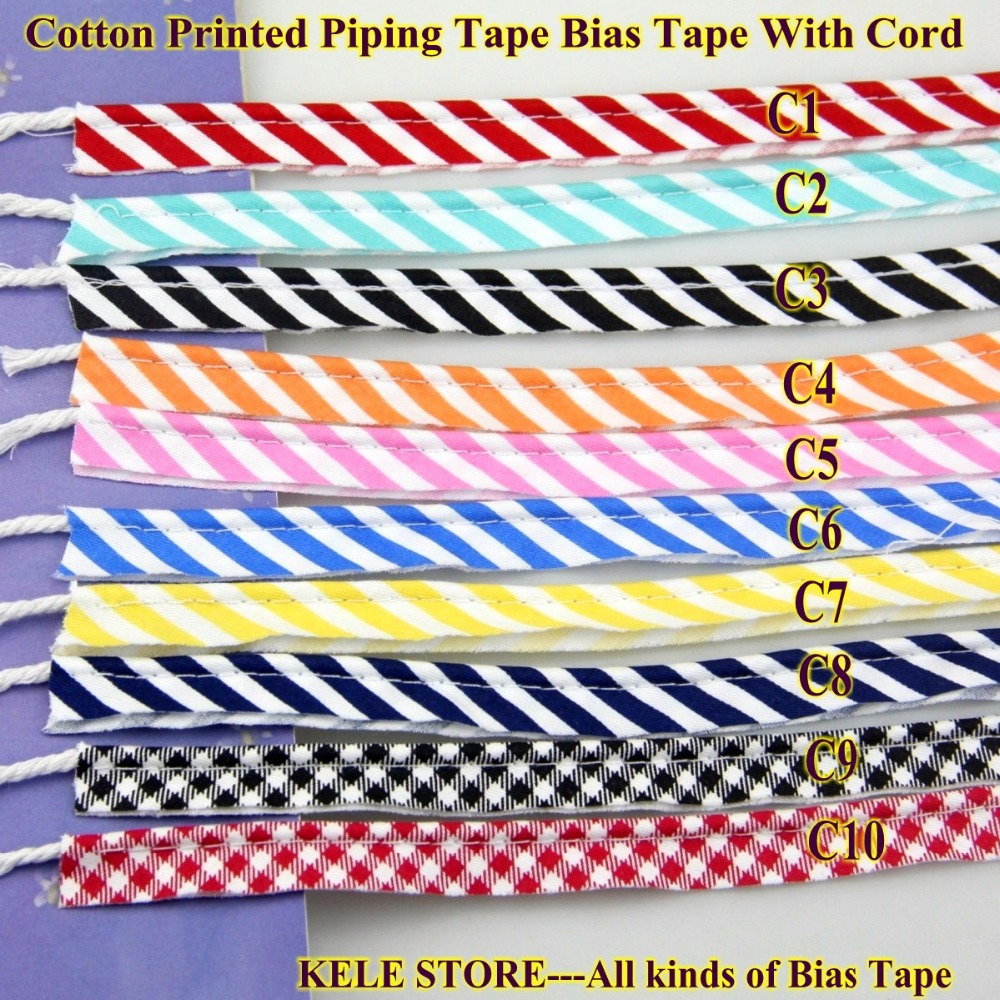 Free Shipping 100% Cotton Strips Checks Bias Piping,Bias