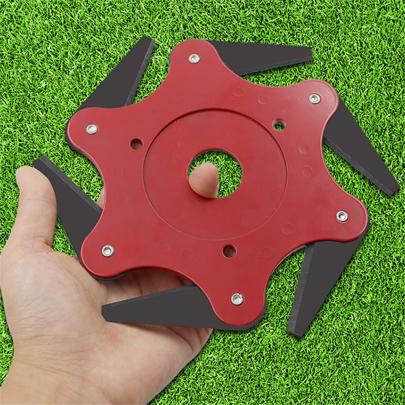 6 Teeth Brush Cutter Blade Trimmer Home Garden Tools Metal Blades Trimmer Head 65Mn Garden Grass Trimmer Head For Lawn Mower