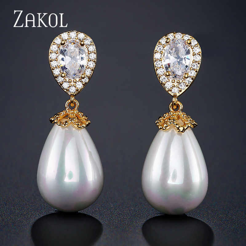 ZAKOL Rose Gold Color Charm Imitation Pearl And Cubic Zirconia Water Drop  Fashion Ladies  Earrings For Party Wedding FSEP2014