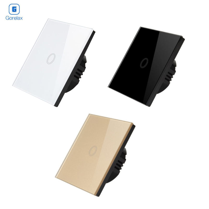 Wall Touch Switch With Tempered Crystal Glass Panel One Gang One Way Switches for Smart House Light Control 170-240V EU StandardWall Touch Switch With Tempered Crystal Glass Panel One Gang One Way Switches for Smart House Light Control 170-240V EU Standard