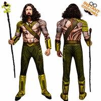 2018 New Adult Men Aquaman Costume Performance Muscle Super Hero King Jumpsuit Fancy Dress Halloween Party Aquaman Clothes