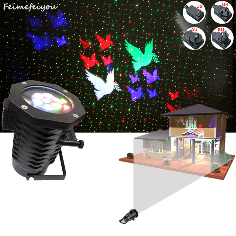 Feimefeiyou wireless remote control lampada LED Laser Projector Stage Light outdoor Garden red green Lighting changeable rg mini 3 lens 24 patterns led laser projector stage lighting effect 3w blue for dj disco party club laser