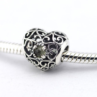 Fits Pandora Bracelets August Signature Heart Peridot Silver Beads 100 Real 925 Sterling Silver Charms DIY