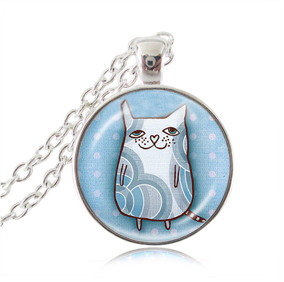 Blue cat necklace,cute cartoon Cat pendant illustration Cat jewelry glass dome aniaml art picture necklaces jewellery for women