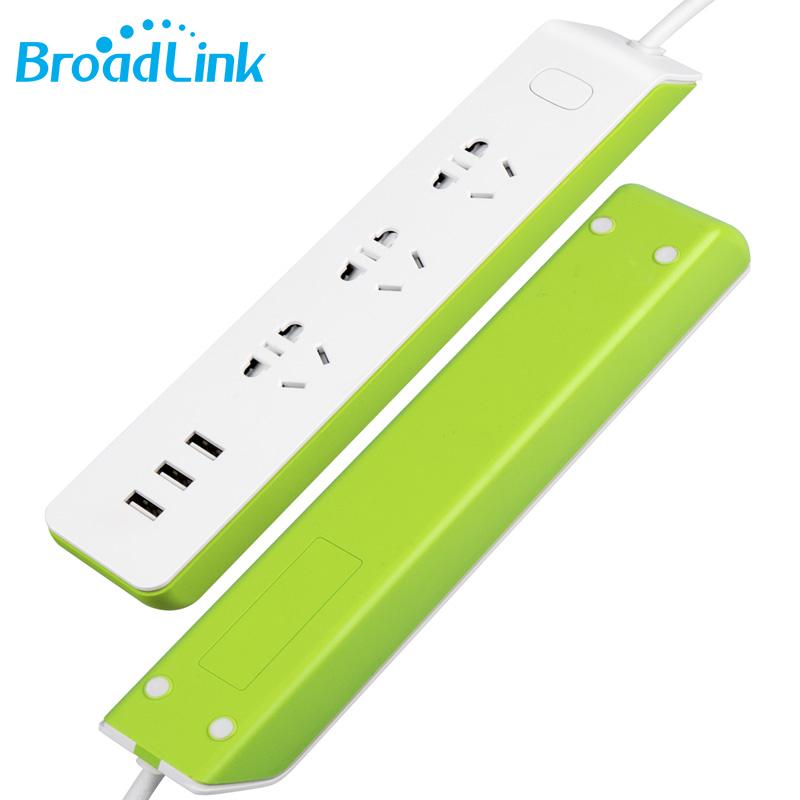 Prix pour Nouveau Broadlink MP2 Maison Intelligente 3 Sortie 3 Port 2.1A USB Puissance Bande Électrique Smart Prises bouchons Sans Fil Téléphone À Distance contrôle