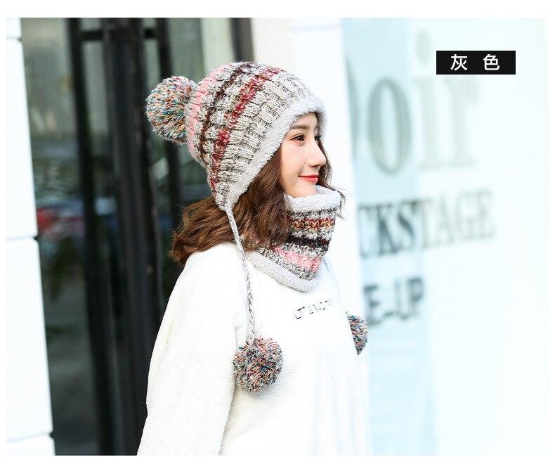 chapéu quente cachecol definir moda lã espessamento