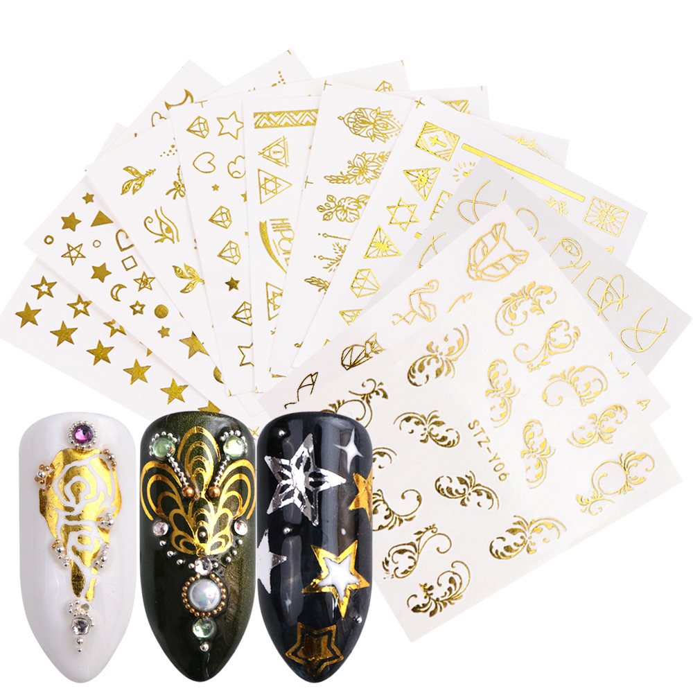 Image 4 - Full Beauty 20pcs Water Nail Sticker Gold Flower Vine Diamond Necklace Gel Polish Slider Accessories Nail Art Decals Sets CHYY20-in Stickers & Decals from Beauty & Health