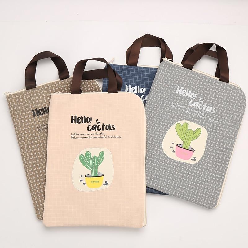 NNRTS Stationery Portable A4 File Bag IPAD File Bag Zipper Storage Student Female Bag Canvas