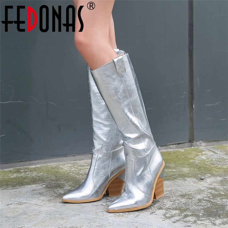 FEDONAS Women Knee High Boots Quality Euro Style Night Club Party Shoes Woman Sexy Pointed Toe