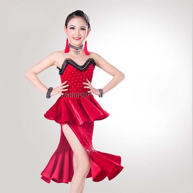 Glamour Ballroom Dance Latin Dress For Girls Competitive Sling Lace Flamenco Children Tango Chacha Rumba Samba Dresses DNS1006