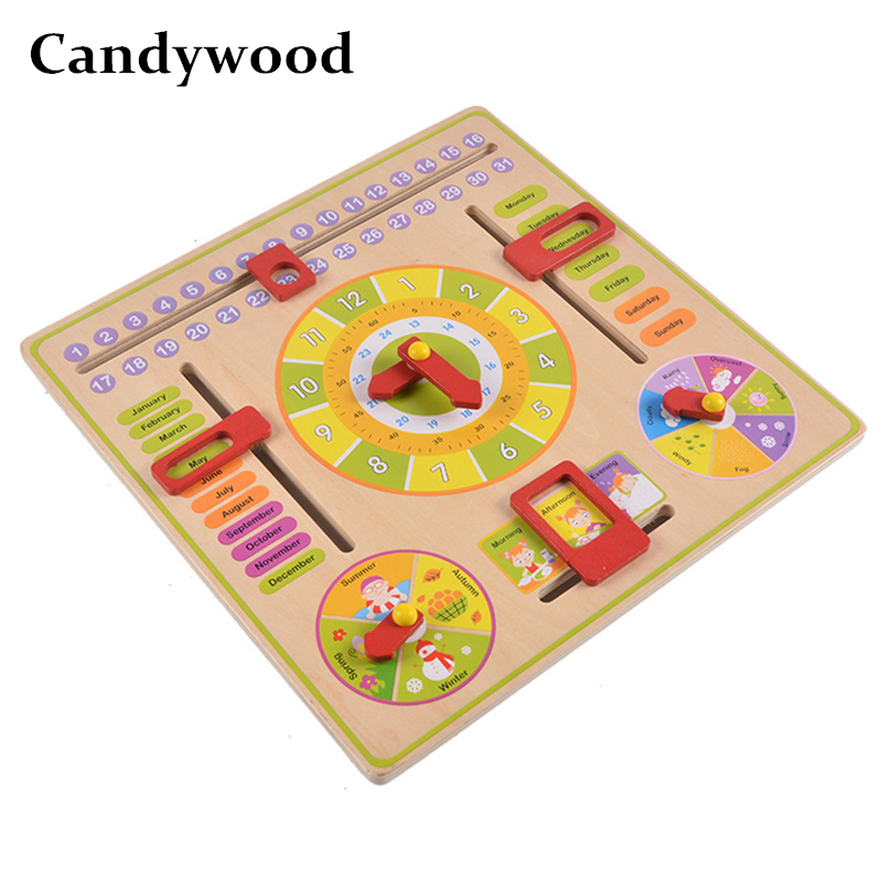 Multifunctional Wooden Clock with Weather Number Season Month Week Date Learning Clock Education For Children Calendar Clock multifunctional cartoon wooden clock toy cognitive calendar season date children educational toy early learning puzzle toys