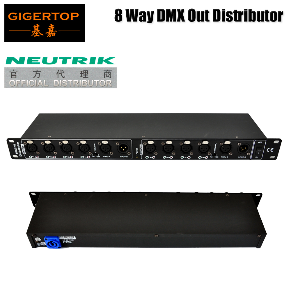 Gigertop TP D1356 8 Way DMX512 Signal Distributor Box Neutrick 3pin xlr socket blue power in socket 2 DMX Input