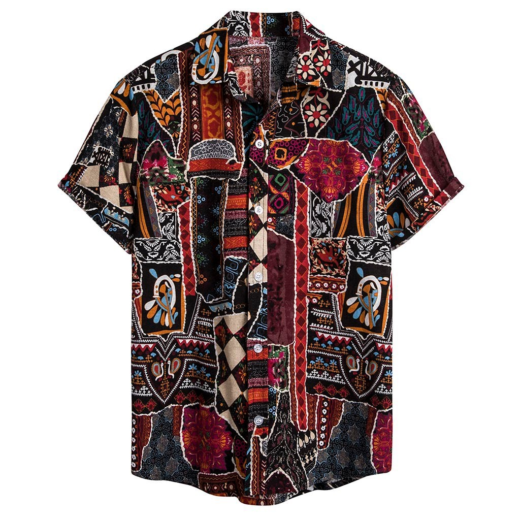 Womail Summer 2020 Mens Ethnic Short Sleeve Casual Cotton Linen Printing Hawaiian Shirt Blouse  Streetwear Camisas Mens Shirts 1